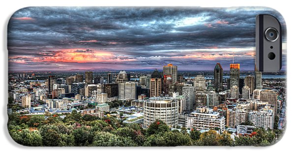 Montreal iPhone Cases - Montreal Skyline Sunset from Mount Royal iPhone Case by Shawn Everhart