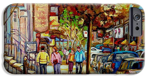 Montreal Cityscapes Paintings iPhone Cases - Montreal Streetscenes By Cityscene Artist Carole Spandau Over 500 Montreal Canvas Prints To Choose  iPhone Case by Carole Spandau