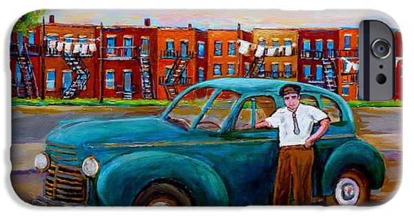 Montreal Memories. iPhone Cases - Montreal Taxi Driver 1940 Cab Vintage Car Montreal Memories Row Houses City Scenes Carole Spandau iPhone Case by Carole Spandau