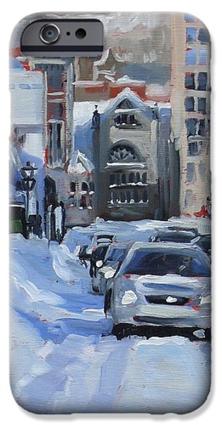 Young Paintings iPhone Cases - Montreal Winter Crescent iPhone Case by Darlene Young