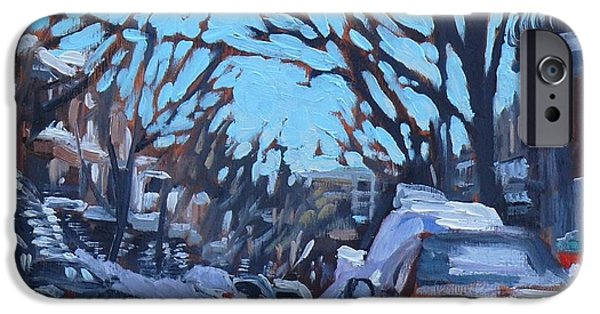 Young Paintings iPhone Cases - Montreal Winter Scene Morning iPhone Case by Darlene Young