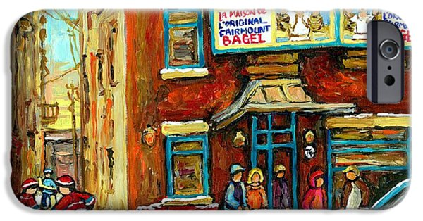 Hockey Paintings iPhone Cases - Montreals Favorite Bagel Shop Original Fairmount Bagel Laneway Hockey Game By Carole Spandau iPhone Case by Carole Spandau