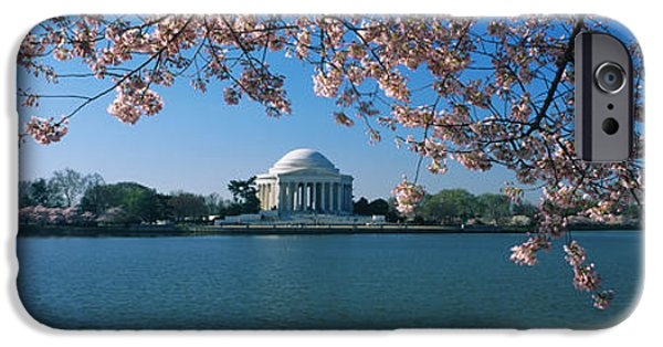 Cherry Blossoms iPhone Cases - Monument At The Waterfront, Jefferson iPhone Case by Panoramic Images