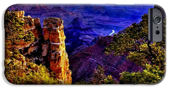 Grand Canyon Mixed Media iPhone Cases - Monument to Grand Canyon  iPhone Case by  Bob and Nadine Johnston