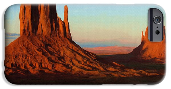 Abstract Landscape Digital Art iPhone Cases - Monument Valley 2 iPhone Case by Ayse Deniz