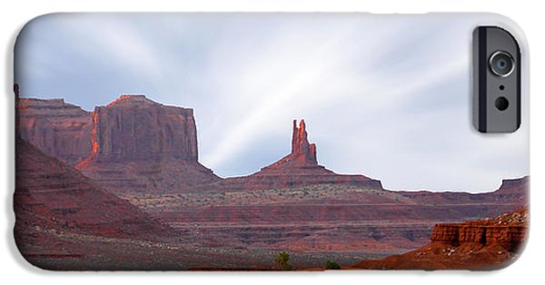 Red Rock iPhone Cases - Monument Valley at Sunset Panoramic iPhone Case by Mike McGlothlen