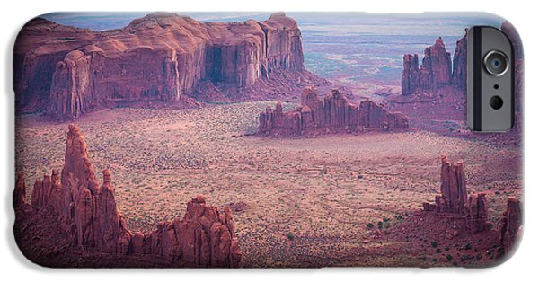 Solitude Photographs iPhone Cases - Monument Valley from Hunts Mesa iPhone Case by Inge Johnsson