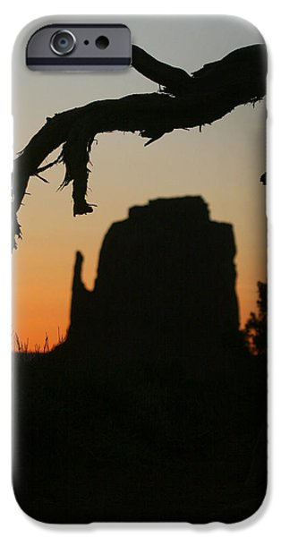 Nation Pyrography iPhone Cases - Monument Valley Landscape Silhouette iPhone Case by Katrina Brown