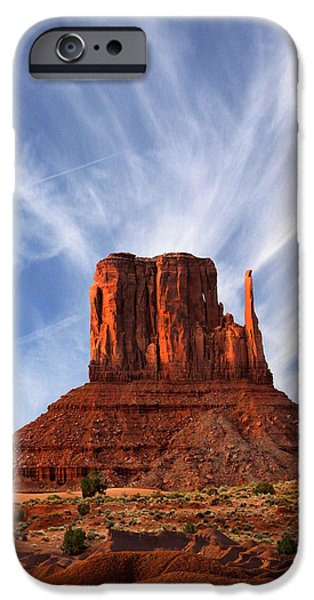 Red Rock Digital iPhone Cases - Monument Valley - Left Mitten 2 iPhone Case by Mike McGlothlen
