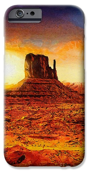 Park Scene iPhone Cases - Monument Valley iPhone Case by Mo T