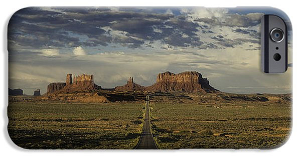 Rock Formation iPhone Cases - Monument Valley Panorama iPhone Case by Steve Gadomski