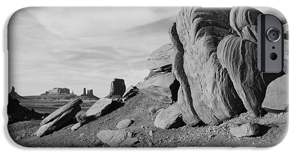 Arizona iPhone Cases - Monument Valley Sandstone Boulders Scenic Black and White iPhone Case by Shawn O