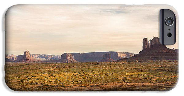 Blue Mountains Red iPhone Cases - Monument Valley Sunset - Arizona iPhone Case by Brian Harig