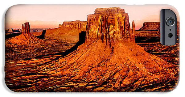 Grand Canyon Mixed Media iPhone Cases - Monument Valley Sunset iPhone Case by  Bob and Nadine Johnston