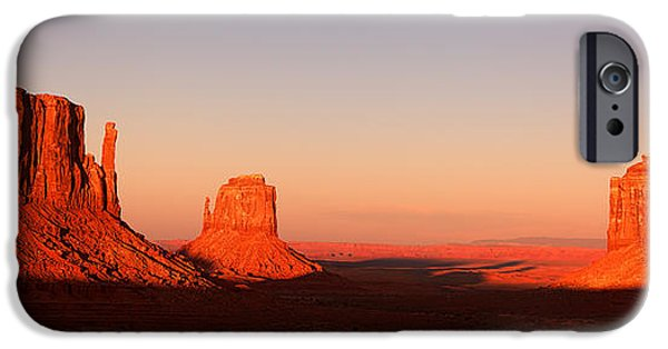 Indian iPhone Cases - Monument valley sunset pano iPhone Case by Jane Rix