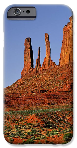 Sisters iPhone Cases - Monument Valley - The Three Sisters iPhone Case by Christine Till