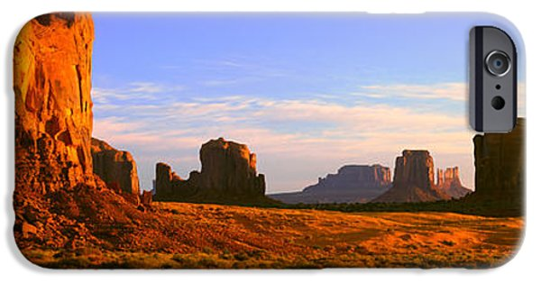 Nation iPhone Cases - Monument Valley Tribal Park At Sunrise iPhone Case by Panoramic Images