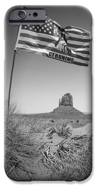 Desert Scape iPhone Cases - Monument Valley USA bw iPhone Case by Melanie Viola