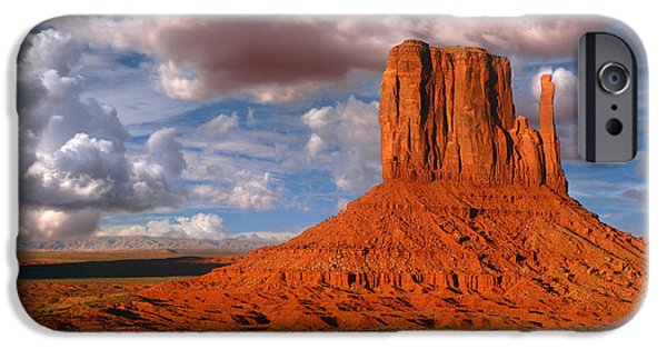Nation Pyrography iPhone Cases - Monument Valley Utah known as The Mittens iPhone Case by Katrina Brown