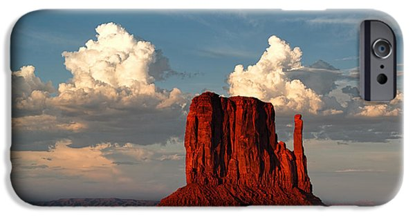 Northern Arizona iPhone Cases - Monument Valley West Mitten and Cotton Clouds iPhone Case by Silvio Ligutti