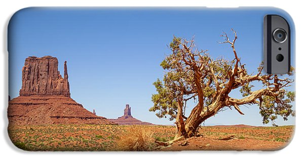 Desert Scape iPhone Cases - MONUMENT VALLEY West Mitten Butte and Tree iPhone Case by Melanie Viola