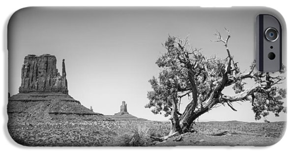 Navajo Nation iPhone Cases - Monument Valley West Mitten Butte bw iPhone Case by Melanie Viola