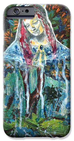 Spiritual Portrait Of Woman iPhone Cases - Monumental Tree Goddess iPhone Case by Genevieve Esson