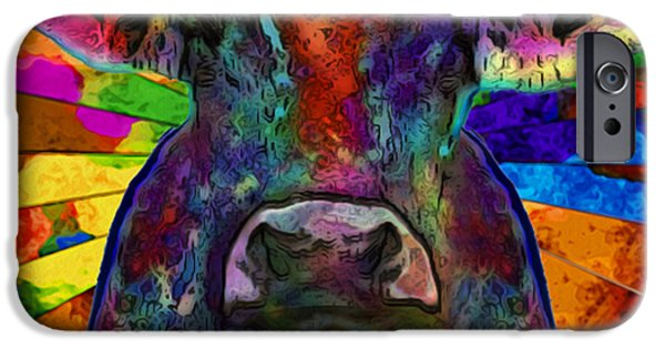 Multimedia iPhone Cases - Moo Cow With Color iPhone Case by Jack Zulli