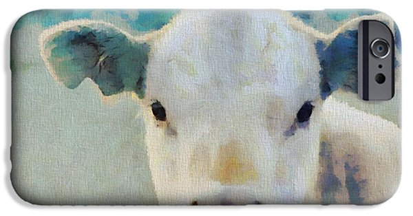 Steer Paintings iPhone Cases - Moo iPhone Case by Dan Sproul