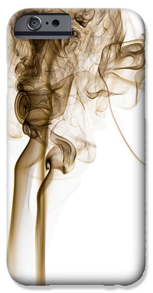 Angels Smoking iPhone Cases - Abstract Vertical Coffee Brown Mood Colored Smoke 04 iPhone Case by Alexandra K