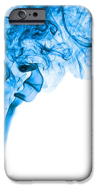 Angels Smoking iPhone Cases - Abstract Vertical Deep Blue Mood Colored Smoke Art 03 iPhone Case by Alexandra K
