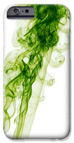 Angels Smoking iPhone Cases - Mood Colored Abstract Vertical Green Smoke Wall Art 01 iPhone Case by Alexandra K