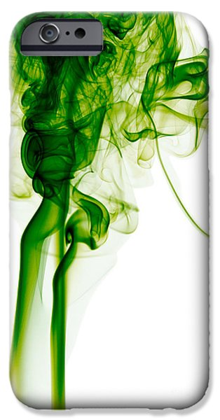 Angels Smoking iPhone Cases - Abstract Vertical Green Mood Colored Smoke Wall Art 03 iPhone Case by Alexandra K