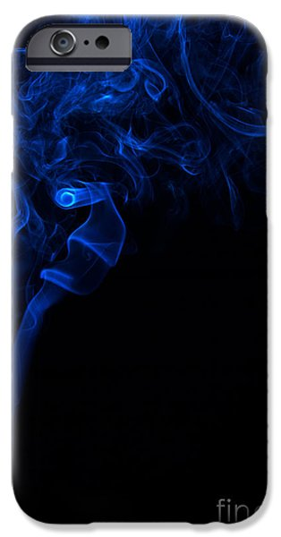 Angels Smoking iPhone Cases - Abstract Vertical Paris Blue Mood Colored Smoke Art 01 iPhone Case by Alexandra K
