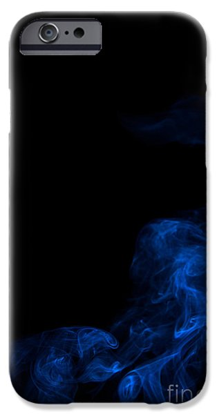 Angels Smoking iPhone Cases - Abstract Vertical Paris Blue Mood Colored Smoke Art 02 iPhone Case by Alexandra K