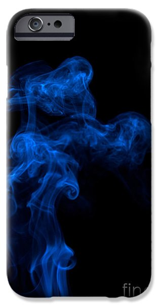 Angels Smoking iPhone Cases - Abstract Vertical Paris Blue Mood Colored Smoke Art 03 iPhone Case by Alexandra K