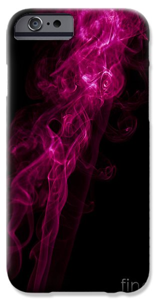 Angels Smoking iPhone Cases - Mood Colored Abstract Vertical Purple Smoke Wall Art 02 iPhone Case by Alexandra K