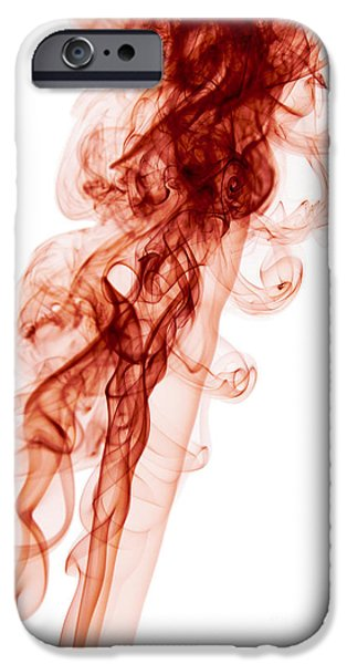 Angels Smoking iPhone Cases - Abstract Vertical Blood Red Mood Colored Smoke Wall Art 03 iPhone Case by Alexandra K