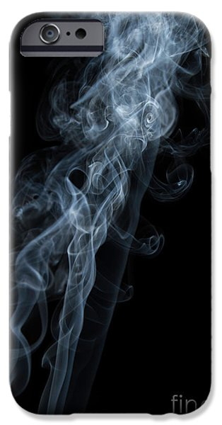 Angels Smoking iPhone Cases - Abstract Vertical White Mood Colored Smoke Wall Art 01 iPhone Case by Alexandra K