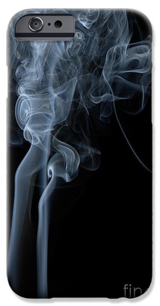 Angels Smoking iPhone Cases - Abstract Vertical White Mood Colored Smoke Wall Art 02 iPhone Case by Alexandra K