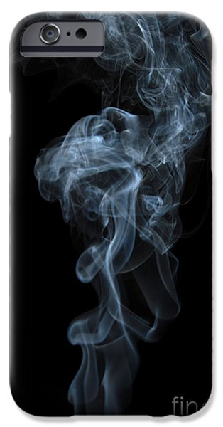 Angels Smoking iPhone Cases - Abstract Vertical White Mood Colored Smoke Wall Art 03 iPhone Case by Alexandra K