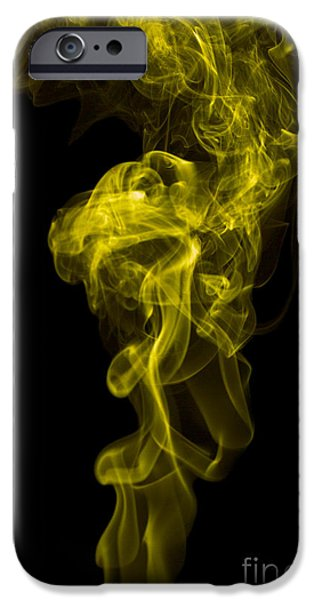 Angels Smoking iPhone Cases - Mood Colored Abstract Vertical Yellow Smoke Wall Art 01 iPhone Case by Alexandra K