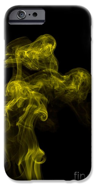 Angels Smoking iPhone Cases - Abstract Vertical Yellow Mood Colored Smoke Wall Art 02 iPhone Case by Alexandra K