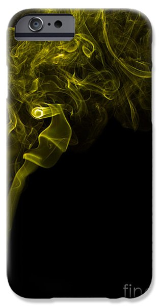 Angels Smoking iPhone Cases - Mood Colored Abstract Vertical Yellow Smoke Wall Art 03 iPhone Case by Alexandra K