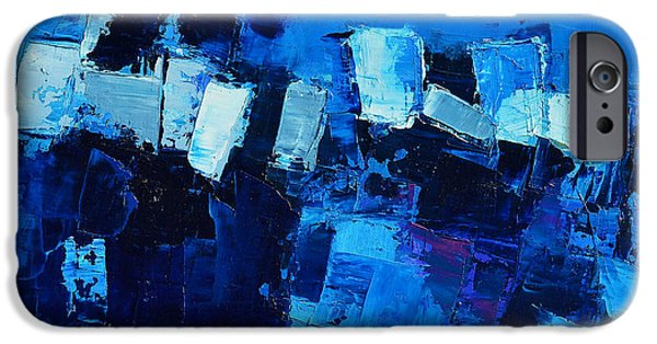 Modern Abstract iPhone Cases - Mood in Blue iPhone Case by Elise Palmigiani