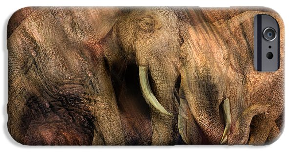 Elephants Mixed Media iPhone Cases - Moods Of Africa - Elephants iPhone Case by Carol Cavalaris