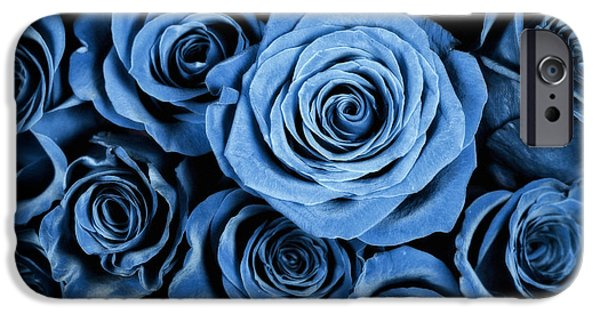 Nature Study iPhone Cases - Moody Blue Rose Bouquet iPhone Case by Adam Romanowicz