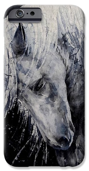 Wild Horse iPhone Cases - Moody Blues iPhone Case by Hailey E Herrera