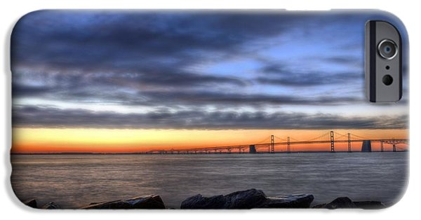 Bay Bridge iPhone Cases - Moody Blues iPhone Case by JC Findley