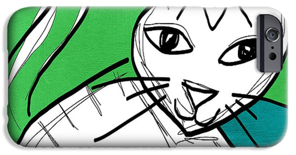 Cat Art iPhone Cases - Moody Cat- pop art iPhone Case by Linda Woods